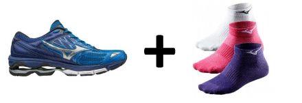 Zestaw męskich butów do biegania Mizuno Wave Creation 19 plus skarpetki do biegania Mizuno Training Mid 3P