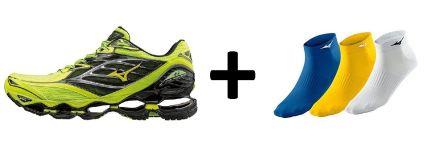 Zestaw męskich butów do biegania Mizuno Wave Prophecy 6 plus skarpetki do biegania Mizuno Training Mid 3P