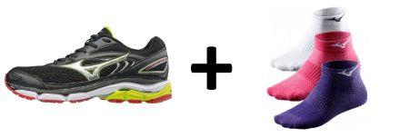 Zestaw męskich butów do biegania Mizuno Wave Inspire 13 plus skarpetki do biegania Mizuno Training Mid 3P