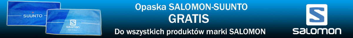 Zrób zakupy dowolnego produktu z marki Salomon a dostaniesz Opaskę na głowę Salomon-Sunto gratis.