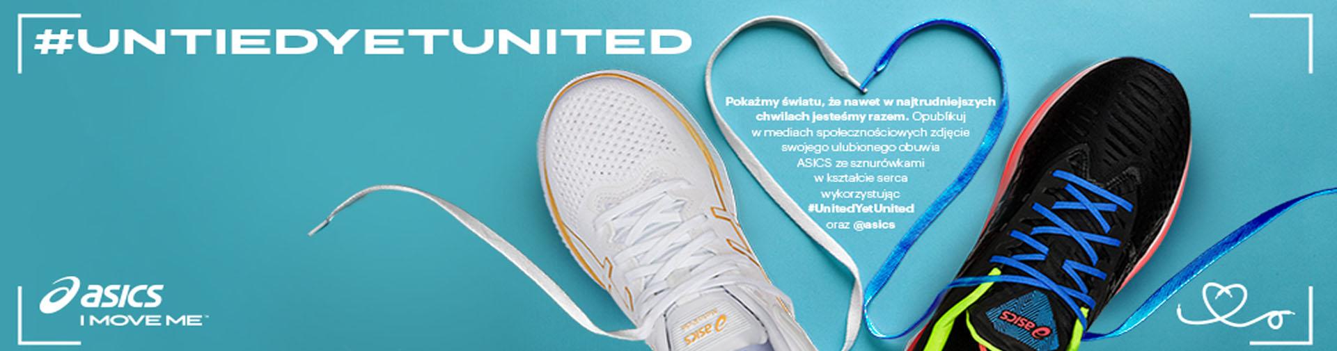 pokażmy, że jesteśmy razem. Udostępnij w mediach społecznościowych zdjęcie swojego ulubionego obuwia Asics ze sznurówkami w kształcie serca i udostępnij z #UnitedYetUnited