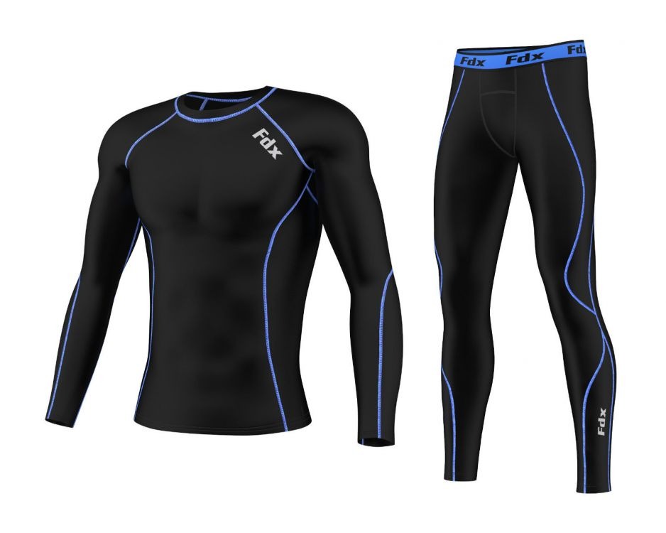 FDX Compression Base Layer Set | CZARNY/NIEBIESKI