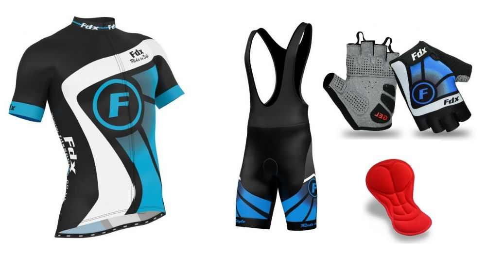 FDX Top Racing Set + Gloves | BLACK-BLUE
