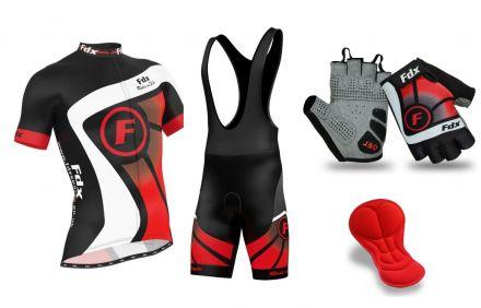 FDX Top Racing Set + Gloves - męski komplet odzieży rowerowej