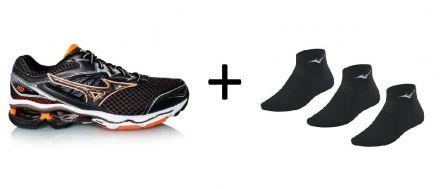 Zestaw męskich butów do biegania Mizuno Wave Creation 18 plus skarpetki do biegania Mizuno Training Mid 3P