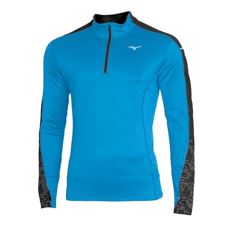 Mizuno Vortex Warmalite HZ | NIEBIESKA - męska ocieplana bluza do biegania J2GC8546