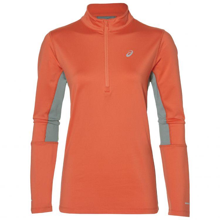 Asics LS 1/2 Zip Winter Top | POMARAŃCZ - damska ocieplana bluza do biegania 2012A158-800