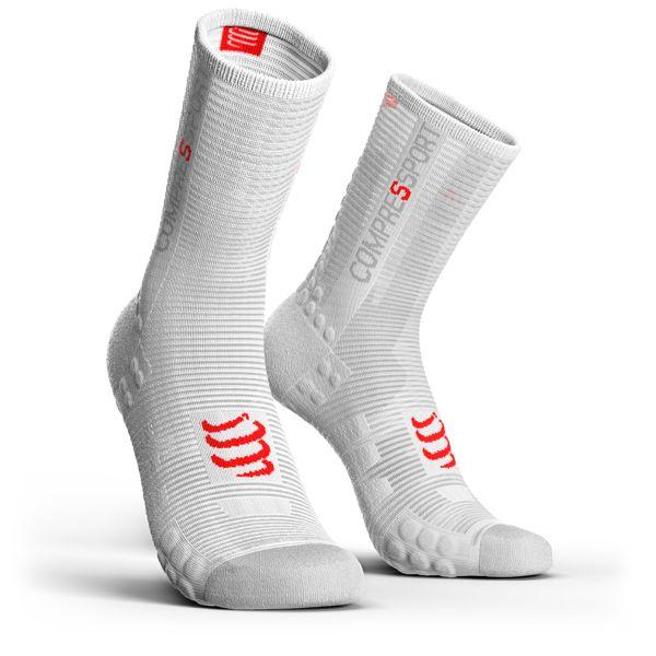 Compressport Pro Racing Socks V3.0 Run HIGH BIKE | BIAŁE - kompresyjne skarpety rowerowe PRSV3-B
