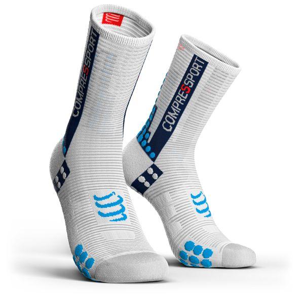 Compressport Pro Racing Socks V3.0 Run HIGH BIKE | BIAŁO-NIEBIESKIE | CZARNE - kompresyjne skarpety rowerowe