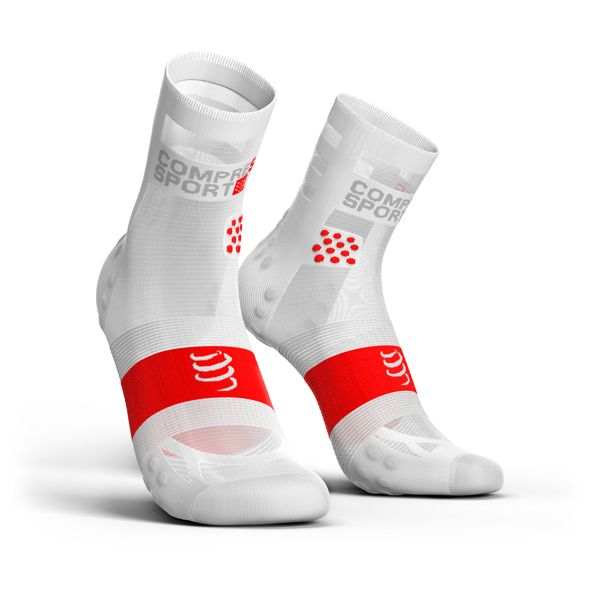 Compressport Pro Racing Socks Ultra Light V3.0 | BIAŁO-CZARNE - kompresyjne skarpety do biegania RSHULV3-0000