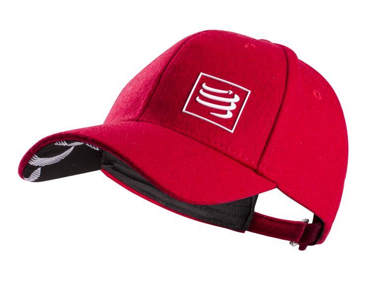Compressport Wool Cap | CZERWONA - czapeczka z daszkiem wykonana z wełny owiec meryno CAP-007