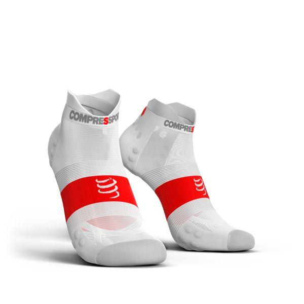 Compressport Pro Racing Socks Ultra Light V3.0 LOW | BIAŁE - kompresyjne skarpety typu stopki do biegania RSLULV3-0000