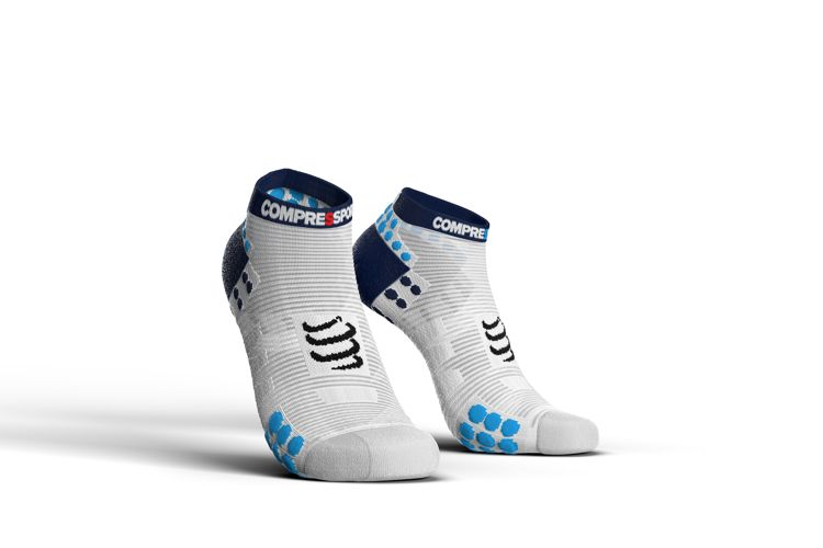 Compressport Racing Socks V3.0 Run LOW | BIAŁO-RÓŻOWE - skarpety stopki do biegania RSLV3-00BL