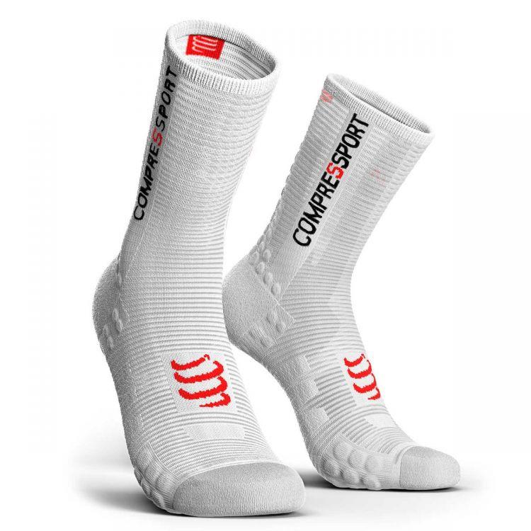 Compressport Pro Racing Socks V3.0 Run HIGH BIKE   BIAŁE - kompresyjne skarpety rowerowe BSHV3-0000