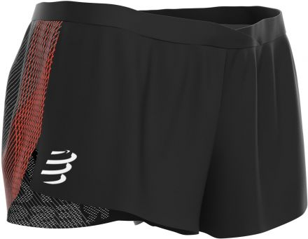 Compressport Racing Split Short | CZARNE - męskie ultralekkie spodenki do biegania SHRUNR-99