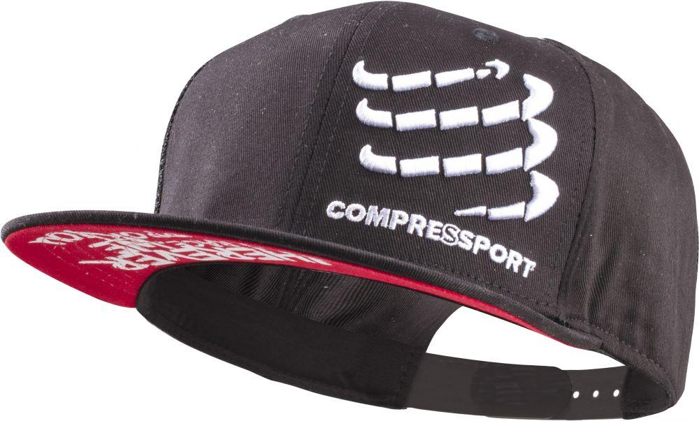 Compressport Flat Cap   CZARNA - czapeczka z daszkiem