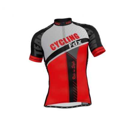FDX Optimum Cycling Shirt | CZARNO-CZERWONA