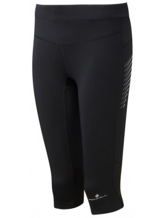 Ronhill Wmn's Stride Stretch Capri | Black damskie getry 3/4 do biegania