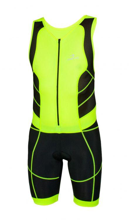 DEKO TRST-203 | CZARNY-FLOUR - jednoczęściowy strój triathlonowy