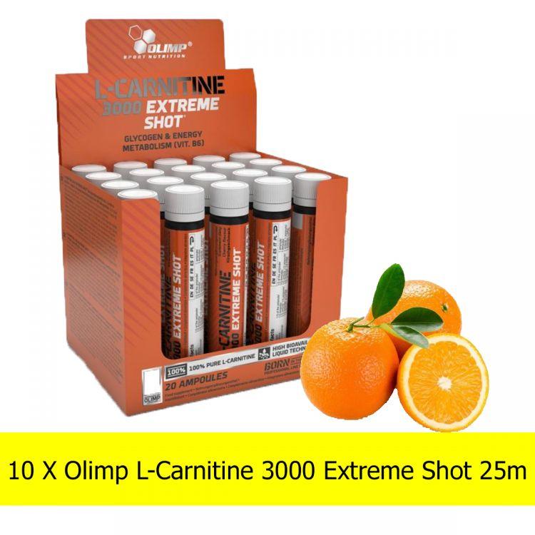 Zestaw 10 X Olimp L-Carnitine 3000 Extreme Shot 25ml - L-karnityna w ampułkach