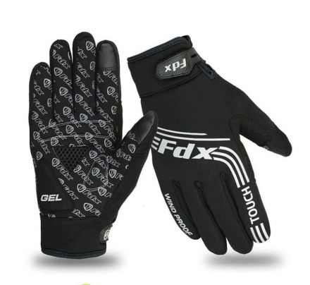FDX AG Windproof Full Finger Cycling Gloves | CZARNE