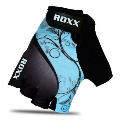 Roxx Cycling Gloves Gel Padded | CZARNO-BŁĘKITNE