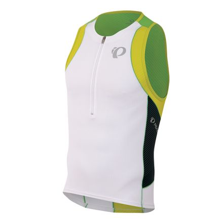 Pearl Izumi Elite IN-R-Cool  Tri Singlet | WHITE/GREEN