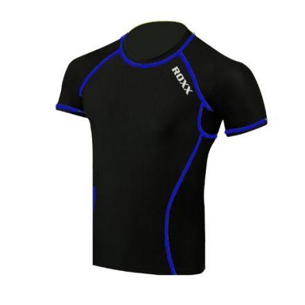 ROXX Men Half Sleeve Compression Shirt  | CZARNO- NIEBIESKA