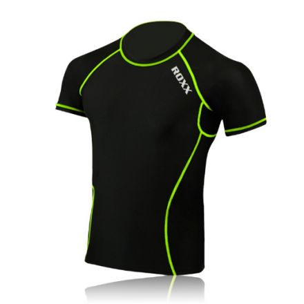 ROXX Men Half Sleeve Compression Shirt  | CZARNO- ŻÓŁTA