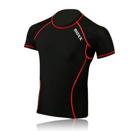 ROXX Men Half Sleeve Compression Shirt  | CZARNO- CZERWONE