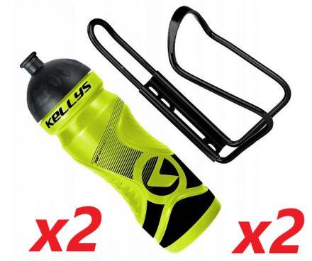 2x Set Kellys Sport 0,7 + Praxx Bottle Cage | YELLOW