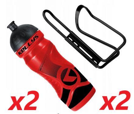2x Set Kellys Sport 0,7 + Praxx Bottle Cage | RED