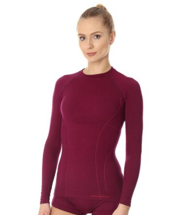Brubeck Active Wool  Women's LS Top | PLUM