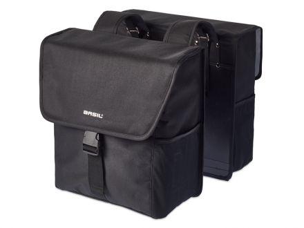 BASIL GO DOUBLE BAG 32L, mocowanie na paski, czarna