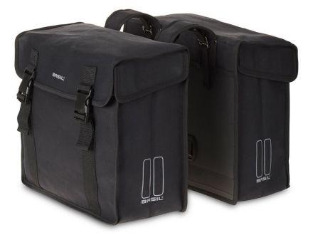 BASIL KAVAN DOUBLE BAG 45L, mocowanie na paski, wodoodporny brezent, czarna
