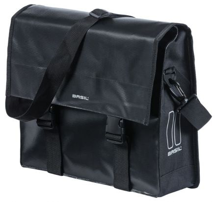 BASIL URBAN LOAD MESSENGER BAG 15-17L, mocowanie na haki Hook-On System, wodoodporna plandeka i poliester, czarna