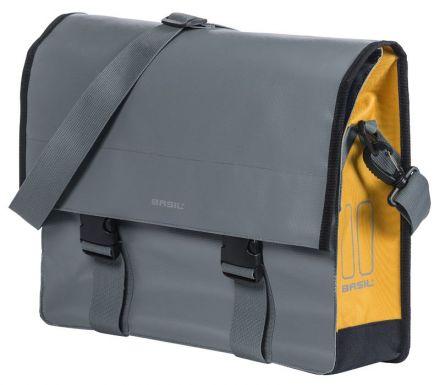 BASIL URBAN LOAD MESSENGER BAG 15-17L, mocowanie na haki Hook-On System, wodoodporna plandeka i poliester, burzliwy szaro-złoty