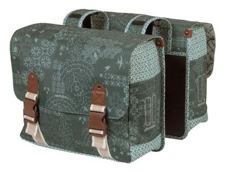 BASIL BOHEME DOUBLE BAG 35L, mocowanie na paski, wodoodporny poliester, forest green