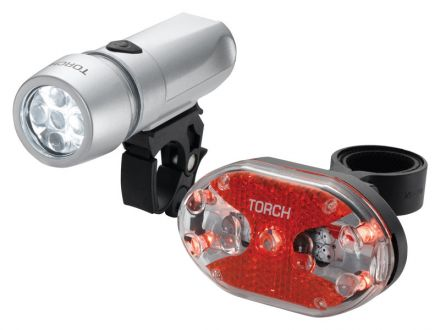 TORCH CYCLE LIGHT SET HIGH BEAMER WHITE 5X + TAIL BRIGHT 5X