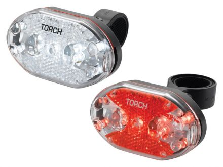 TORCH CYCLE LIGHT SET WHITE BRIGHT 9X + TAIL BRIGHT 9X
