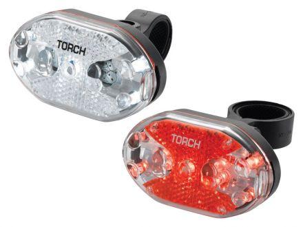 TORCH CYCLE LIGHT SET WHITE BRIGHT 5X + TAIL BRIGHT 5X
